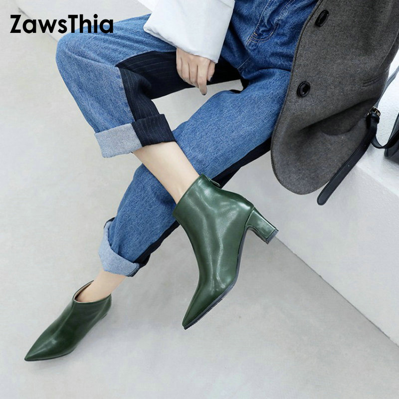 ZawsThia botines mujer 2018 new winter pointed toe med heels woman pumps stiletto shoes green russian zip ankle boots size 47 48