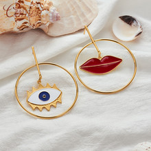 CANNER Fashion Gold Drop Earrings Jewelry for Women Gift Geometric Big Round with Lip Evil Eye Pendant Brincos