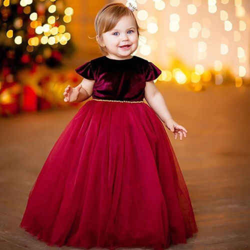 8cd1e5f0027b New Xmas Kid Girl Wine Velvet Tutu Dress Princess Christmas Dress Kid Baby  Girl Party Wedding