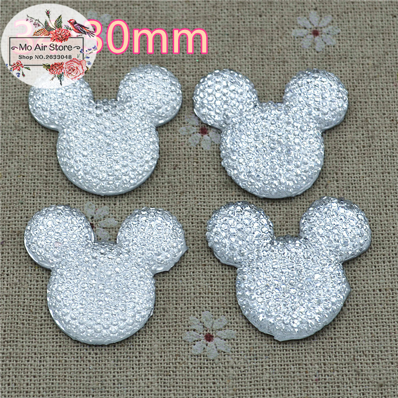 White Mickey Mouse With Bow Cabochon Resin Flatbacks Scrapbooking For DIY Craft 34x30mm 10PCS