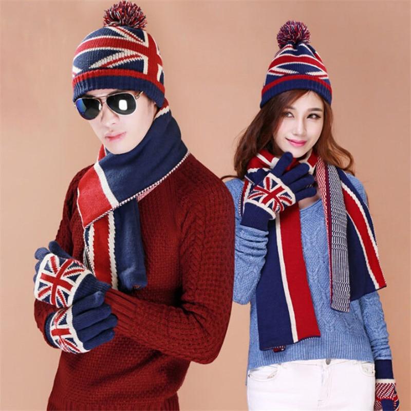 Christmas Gift USA UK Flag Design Knit Hat Scarf Gloves ...