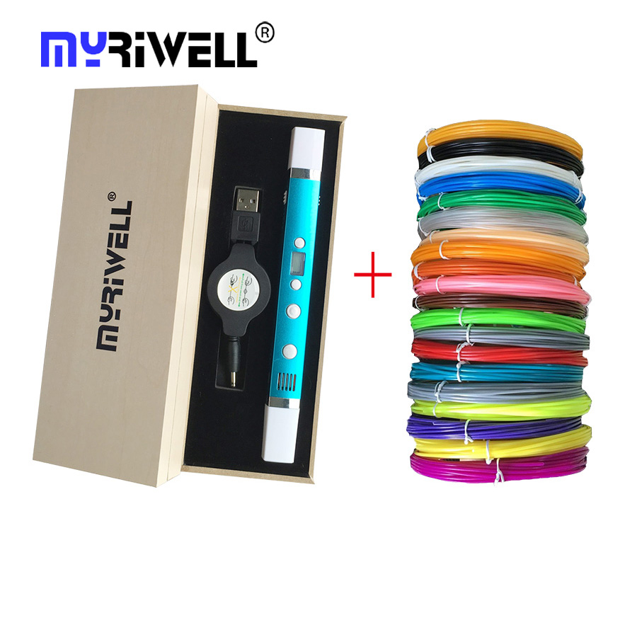 New myriwell RP-100C 3d printer pen Drawing 3D Pen Original Myriwell 3D Printing 3d pens for kids birthday present Useful gifts myriwell brand new magic 3d printer pen drawing 3d pen with 3color abs filaments 3d printing 3d pens for kids birthday present