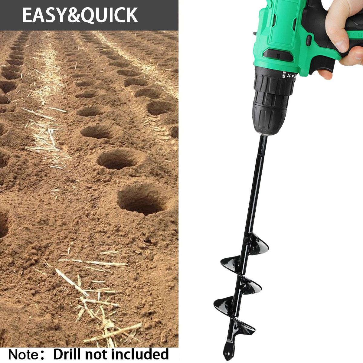Garden Auger Drill Bit Spiral Hole Digger Tool 50mm Flower Planter Bulb HEX Shaft Drill Yard Garden Hole Digger Tool 22/45cm