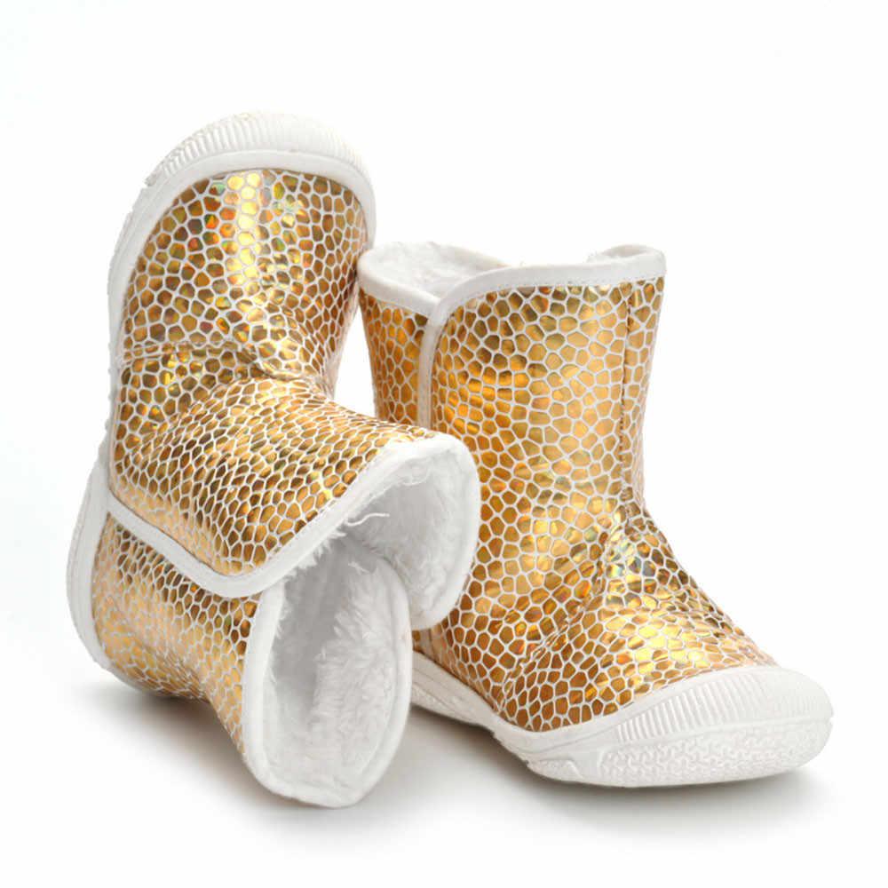 Модные зимние ботинки для девочек; ботинки с золотым леопардовым принтом для новорожденных мальчиков и девочек; Теплые Ботинки martin; нескользящие ботинки