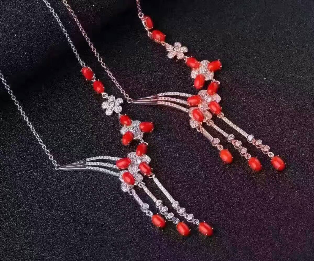 Natural red coral gem Necklace natural gemstone Pendant Necklace S925 silver Luxury fashion tassel flowers women wedding JewelryNatural red coral gem Necklace natural gemstone Pendant Necklace S925 silver Luxury fashion tassel flowers women wedding Jewelry