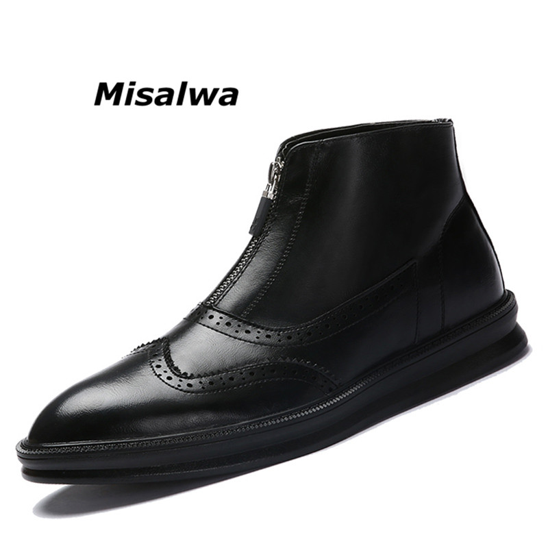 Misalwa Men's Modern Classic Chukka Boots Leather Designer Pointed Toe Ankle Boots Men Bullock Black Casual Shoes Zipper-up 2018 недорого