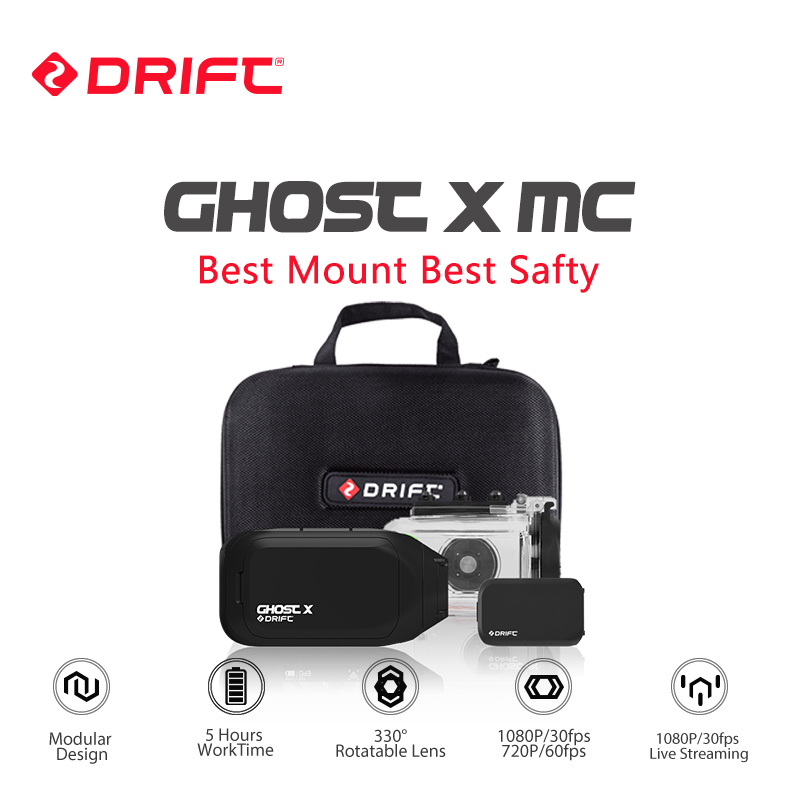 Drift Ghost X MC Actiecamera Ambarella 1080P Motorfiets Fiets Sporthelm Mini Camera ARM 12MP CMOS Rotary Lens WiFi