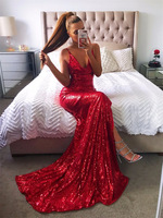 Luoanyfash Luxury Gold Silver Long Sequin Evening Backless Dress V Neck Evening Sleeveless Prom Party Formal