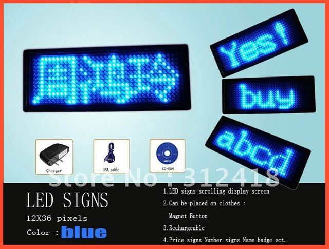Led name badge name card for business club hotel blue 12x36 pixels Scrolling message rechargeable (high quality Free shipping)