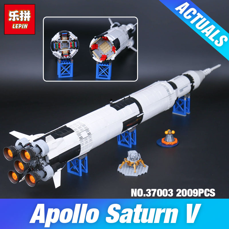 Lepin 37003 1969Pcs Creative Series The Apollo Saturn V Launch Vehicle Set Children Educational Building Blocks Bricks Toy 21309 1969pcs apollo saturn v model building blocks 37003 assemble children kid toy bricks compatible with lego