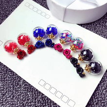 Hot 1Pair Fashion Cute Women Girls Elegant Exquisite Ear Stud 9Colors Three Rose Flowers glass ball Double Sides Earrings Gift