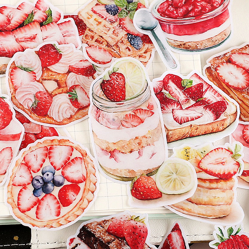 20 Pcs/Pack Fruit Dessert Cake Stickers Kawaii Strawberry Food Scrapbooking Stickers DIY Decoration Journal Diary Craft