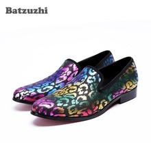 Batzuzhi New FashionMen Dress shoes Italian Mens Shoes Handmade Loafers Flats Muti Color Wedding Men Leather