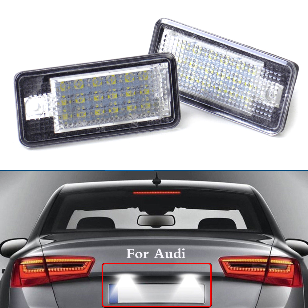 WHDZ 1pair white LED Number License Plate Lamp Light 3W 18Led Bulb Number Plate for Audi-A3 8P A4 S4 RS4 B6 B7 Q7 A6 S6 C6 A8 S8