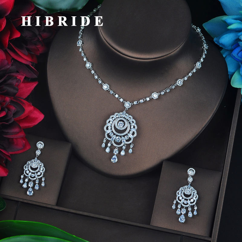 HIBRIDE Brilliant Cubic Zircon Tassel Earring Necklace Set Women Bridal Jewelry Set For Party Jewelry Accessories