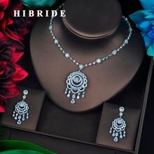 HIBRIDE Brilliant Cubic cyrkon Tassel kolczyki naszyjnik zestaw kobiet zestaw biżuterii ślubnej dla Party biżuteria akcesoria N 683