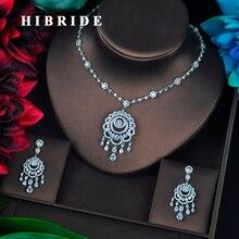 HIBRIDE رائعة مكعب الزركون شرابة القرط قلادة مجموعة النساء الزفاف طقم مجوهرات ل حزب مجوهرات اكسسوارات N 683