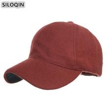 SILOQIN Adjustable Size Solid Baseball Caps For Men NEW Winter Women's Woolen Hats Warm Thick Couple Snapback Cap Men's Hat стоимость