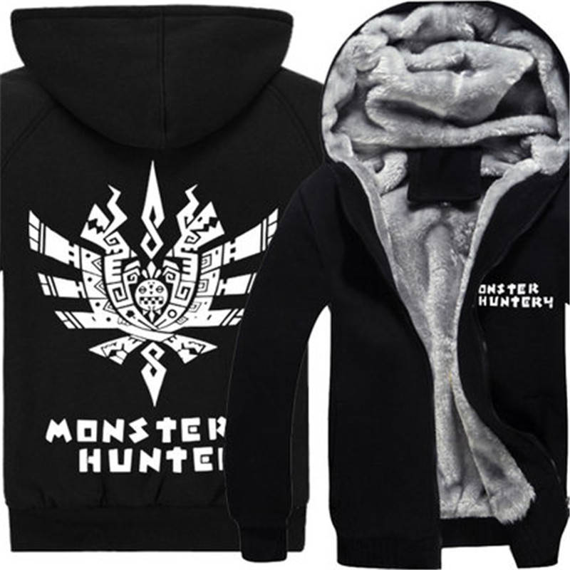 Anime Monster Hunter font b Hoody b font Cosplay Clothes Sweatershirts Cardigan Unisex Thick Hooded Outwear