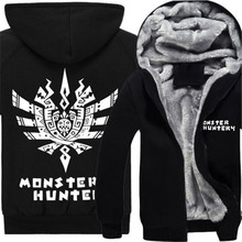 Anime Monster Hunter Hoody Cosplay Clothes Sweatershirts Cardigan Unisex Thick Hooded Outwear Cartoon Warm Jacket Coat Hoodies