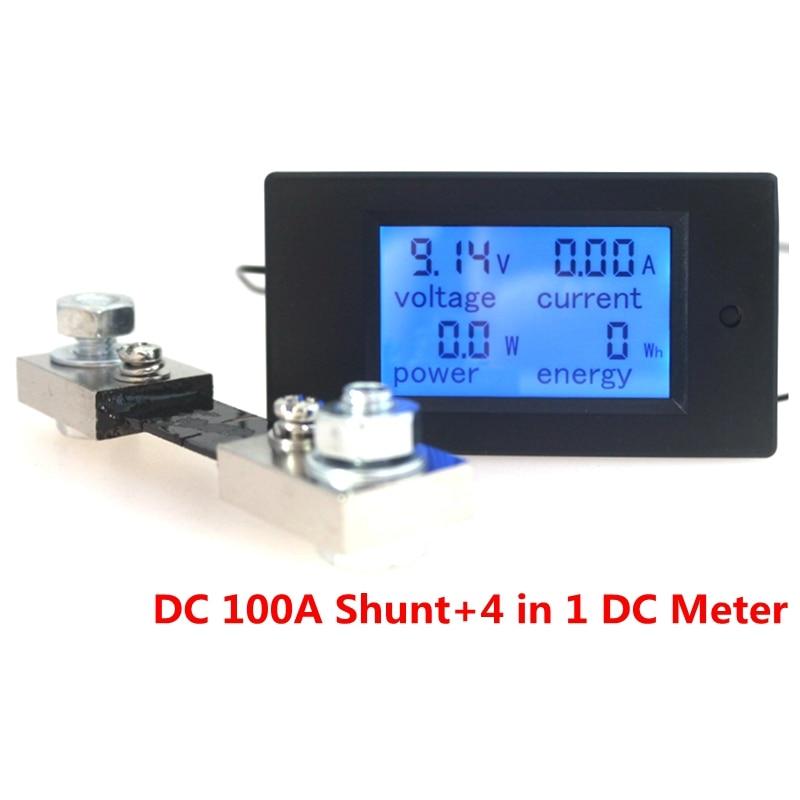 Eletronic Digital Ammeter Voltmeter DC 100V 100A Watt Amp Power Energy Monitor LCD Blue Panel Guage + 100A Shunt
