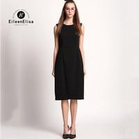 משרד שמלות לנשים 2017 קיץ ללא שרוולים מוצקים שמלת עבודת בנות אופנה גבירותיי שמלות יוקרה מסלול שחור