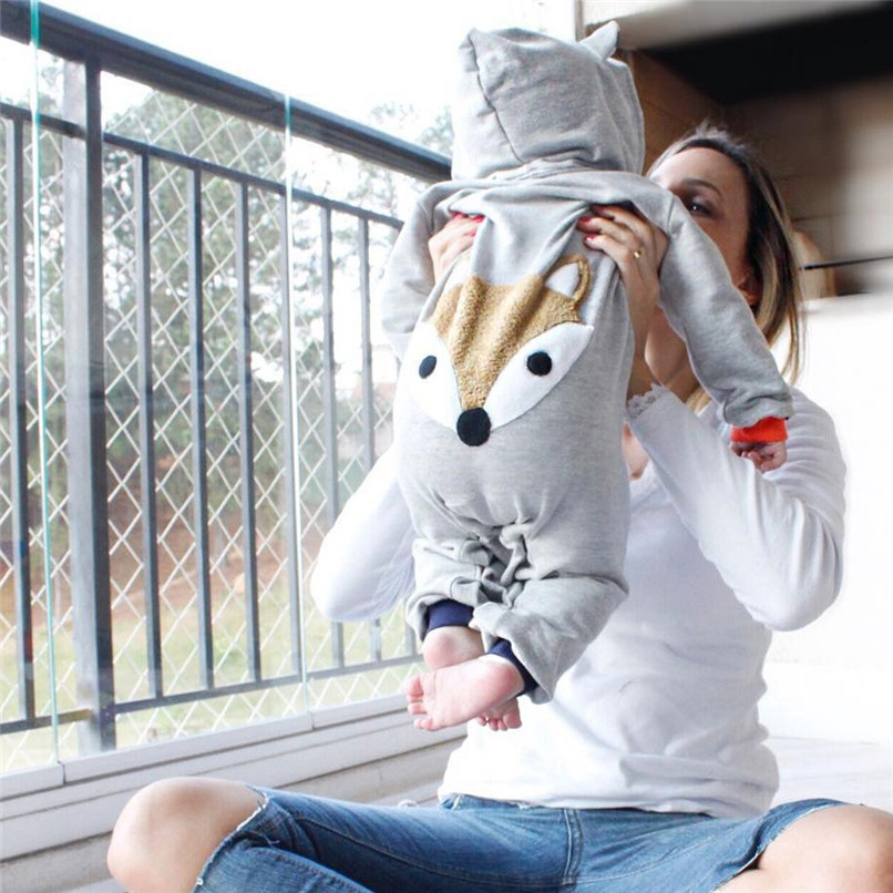 2018 Winter Babys Clothes Toddler Infant Baby Boys Girls Fox Print Long Sleeve Stripe Hooded Jumpsuit Romper Clothes JY26#F (2)