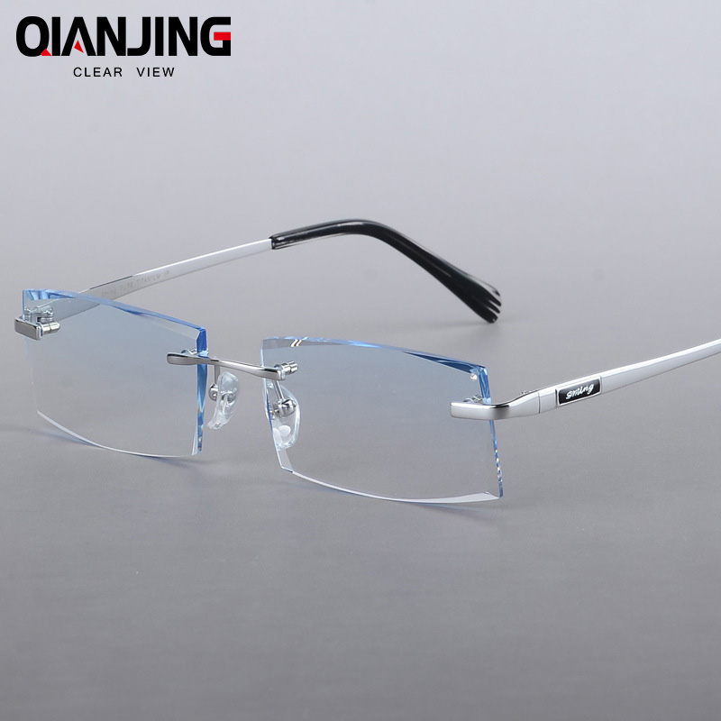 2018 Men s Pure Titanium Myopia Glasses Diamond Trimming Rimless Glasses Balancing Light Gradient Anti Radiation