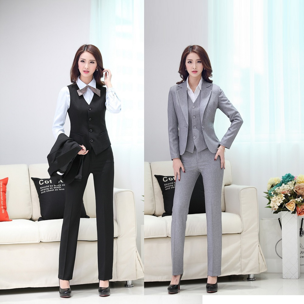 Elegant 2015 womens business suit formal office suit 3 pcs for Office uniform design 2015