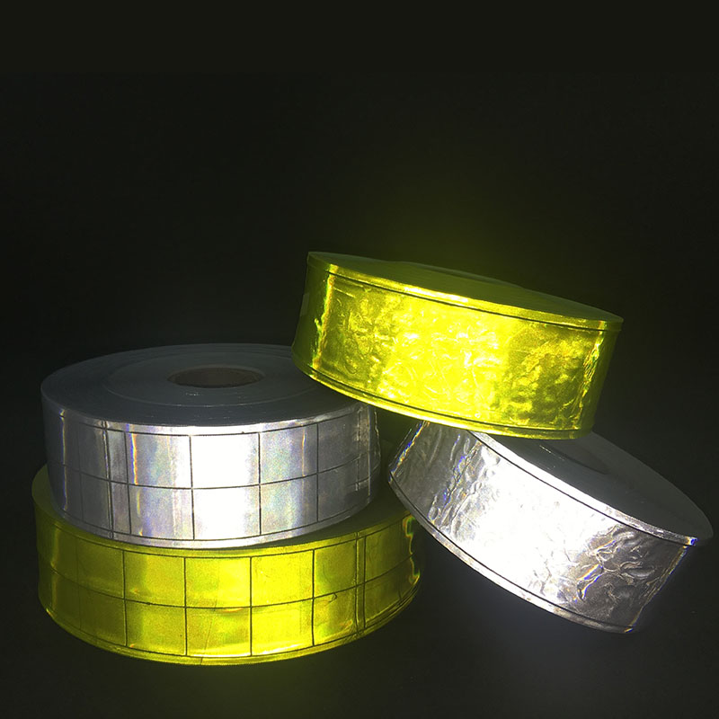 5cm*50Meter High Visibility Reflective Strips Fluorescent PVC Strip Safety Warning Fabric Sewing Material For Clothing Bag