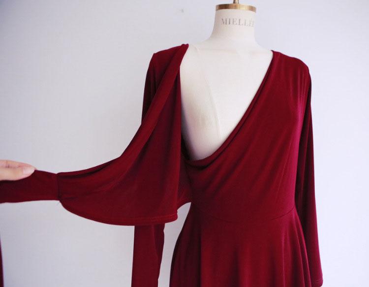 Courte Manches Dames Robe Col Rouge Plissée 2019 Bureau V Longues D'été Portefeuille Femmes À Robes HwnPqP8FX
