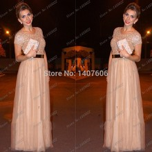 Vestidos De Noite Champagner Prom Kleider Für Frauen Abendkleid Mit Abnehmbare Gold Gürtel Elegante Formale Tüll Kleider 2017 Neue