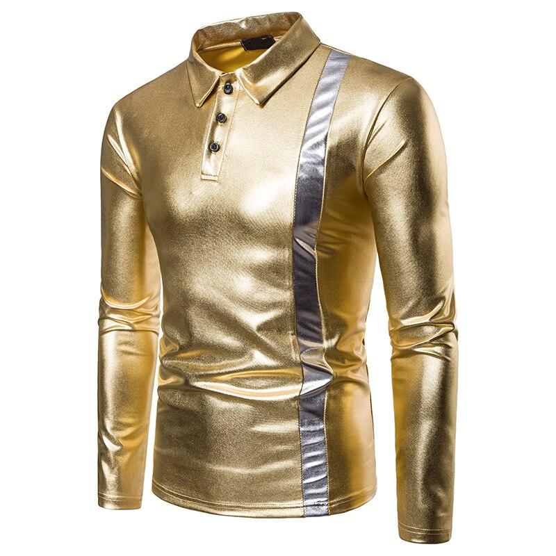 Polo   Shirt Men 2018 Fashion Men Gold Silver Black Bright Stage Wear Long Sleebe High Quality Autumn Men   Polo   Shirt   Polo   Homme