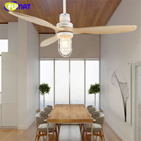 FUMAT E27 Loft Iron Wooden Glass Ceiling Fans Lamp Ceiling Lights LED Ceiling Light Nordic Living Room Ceiling Lamp For Foyer