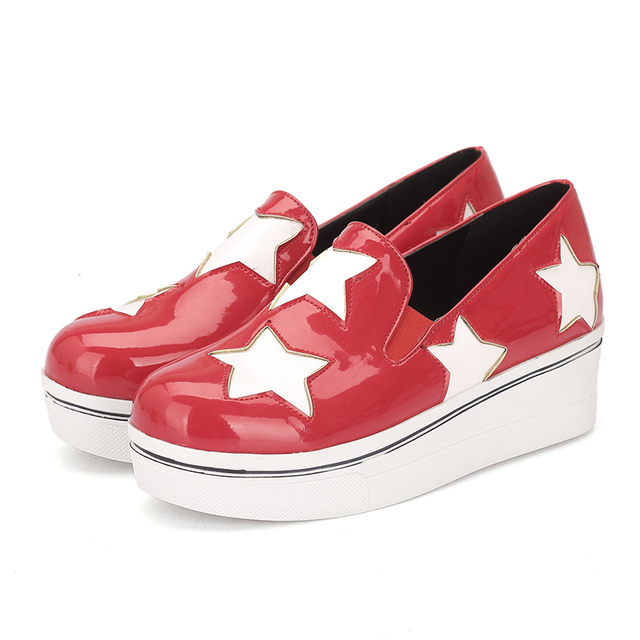 57bef1c6cf8 Women s Autumn Patent Leather Stars Painted Platform Flat Shoes Ladies  Casual Flats CerdaChic Black Red Yellow Blue Plus Size