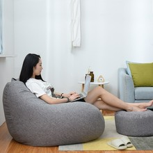 Lazy Sofas Cover Chairs Without Filler Linen Cloth Lounger Seat Bean Bag Pouf Puff Couch Tatami Living Room