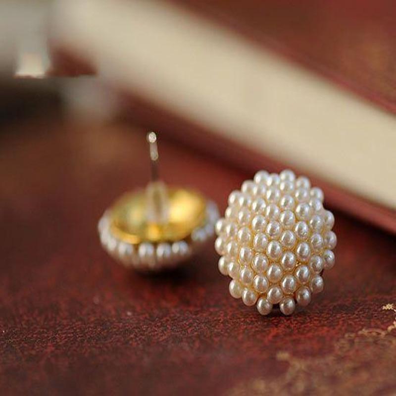 Female Por Gold White Beads Pearl Stud Earrings Mushroom Shape Earring Penntes Er955