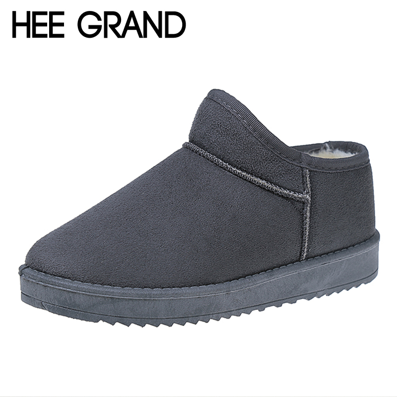 HEE GRAND Faux Suede Snow Boots Creepers Platform Casual Shoes Woman Winter Warm Fur inside Women Ankle Boots Size 35-40 XWX6826 winter 2016 womens boots big size handmade rhinestone studded flat shoes woman platform faux fur snow boots casual ankle booties
