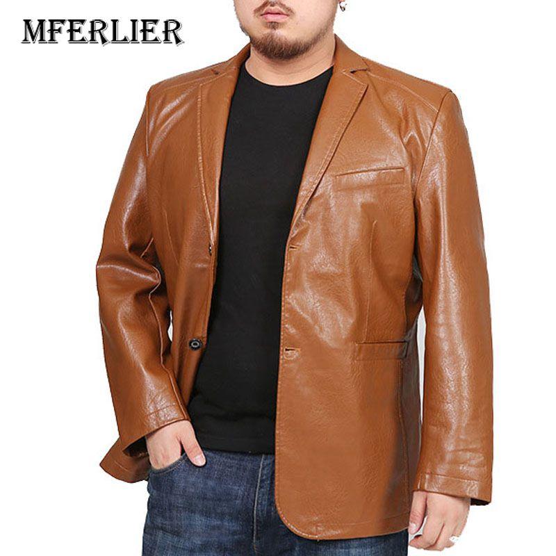 Erkek Kıyafeti'ten Yapay Deri Paltolar'de MFERLIER Kış Sonbahar ceketler erkekler 5XL 6XL 7XL 8XL Artı boyutu Gevşek PU 4 renk büyük boy ceketler deri erkek'da  Grup 1