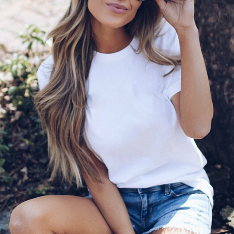 Newly Women white T-shirt Short Sleeves Summer Tops Round Neck Casual Slim Fit Outfits