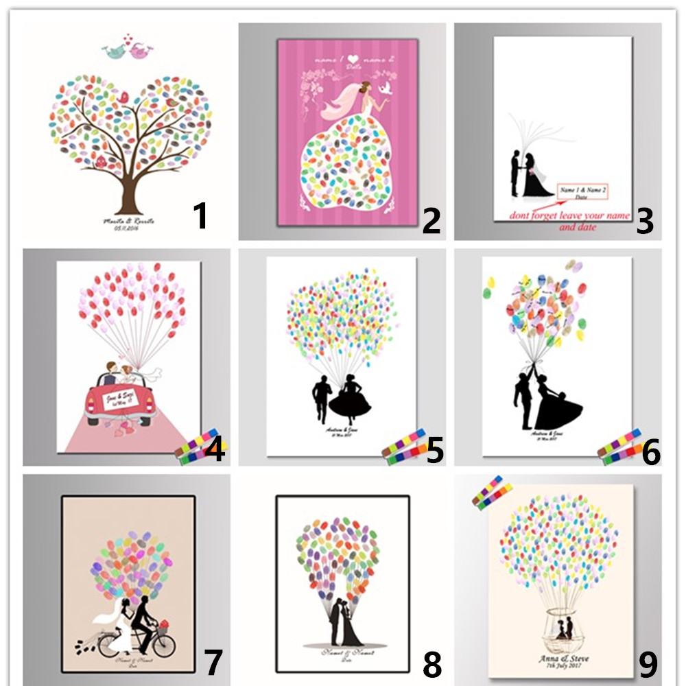 Pictures For Guests Fingerprints And Wishes: Personalized Fingerprint Wedding Guest Book Tree