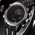BINZI Brand Sports Watches Black Red Silicone Strap Band Digital Military Quartz Watch Men's Quartz Wristwatch Relogio Masculino