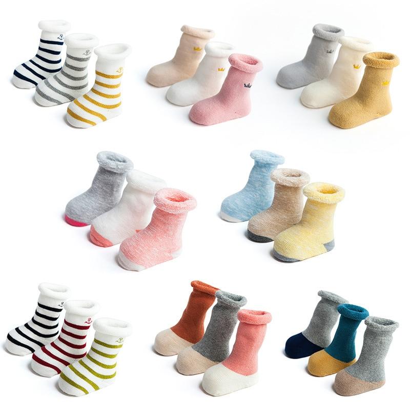 2017 Multi design baby socks boys girls winter sock Crown meia infant todder warm socks kids cotton sock children meias 0-3y