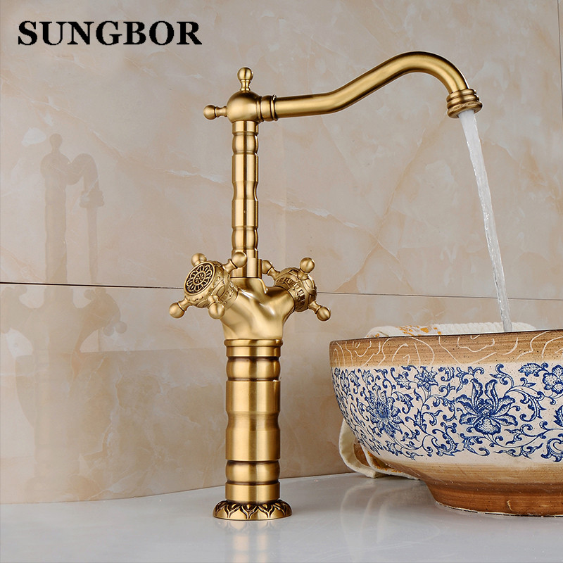 New Arrivel Double Handle Tall Bathroom Sink Basin Mixer Faucet crane tap Antique faucet Brass Hot and Cold mixer Taps AL-7142F free shipping tall wall mounted black painted bathroom faucet double wheel handle black bronze basin sink mixer tap b 015