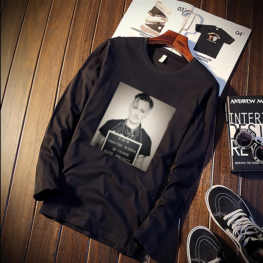 2019 Pure Cotton TShirt Johnny Depp Handsome Portrait Printed Long Sleeve Fashion Casual Tops & Tees Brand Unisex Clothing