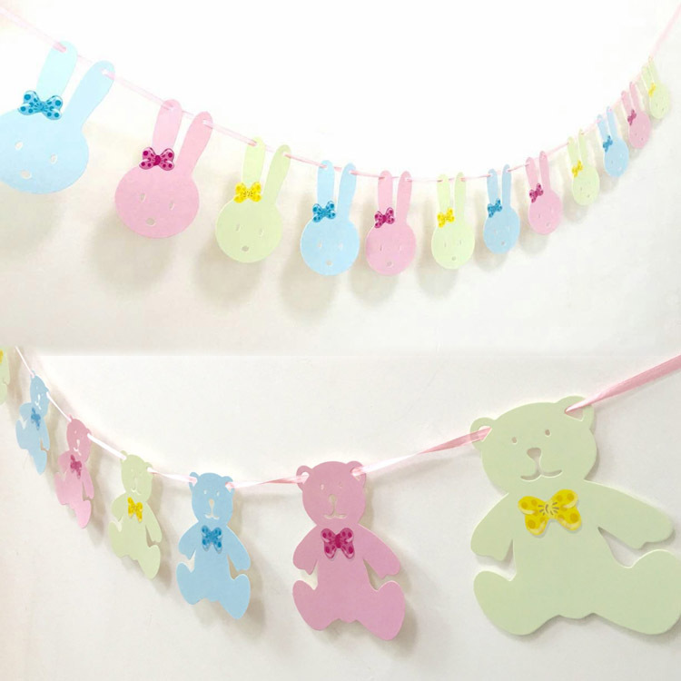 3M Cute Bear Rabbit Pennant Flags Kids First Happy Birthday Party Decoration Baby Shower Boy Garlands PhotoBooth Candy Bar