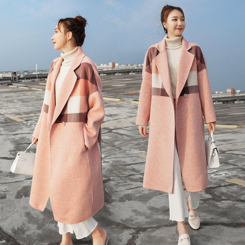 Longue 2018 Femmes Bouton brown Laine Unique Manteaux Mode Et On160 Vestes Manteau Chaud D'hiver Plaid Wmswjh Femme Pink xpdXqAX