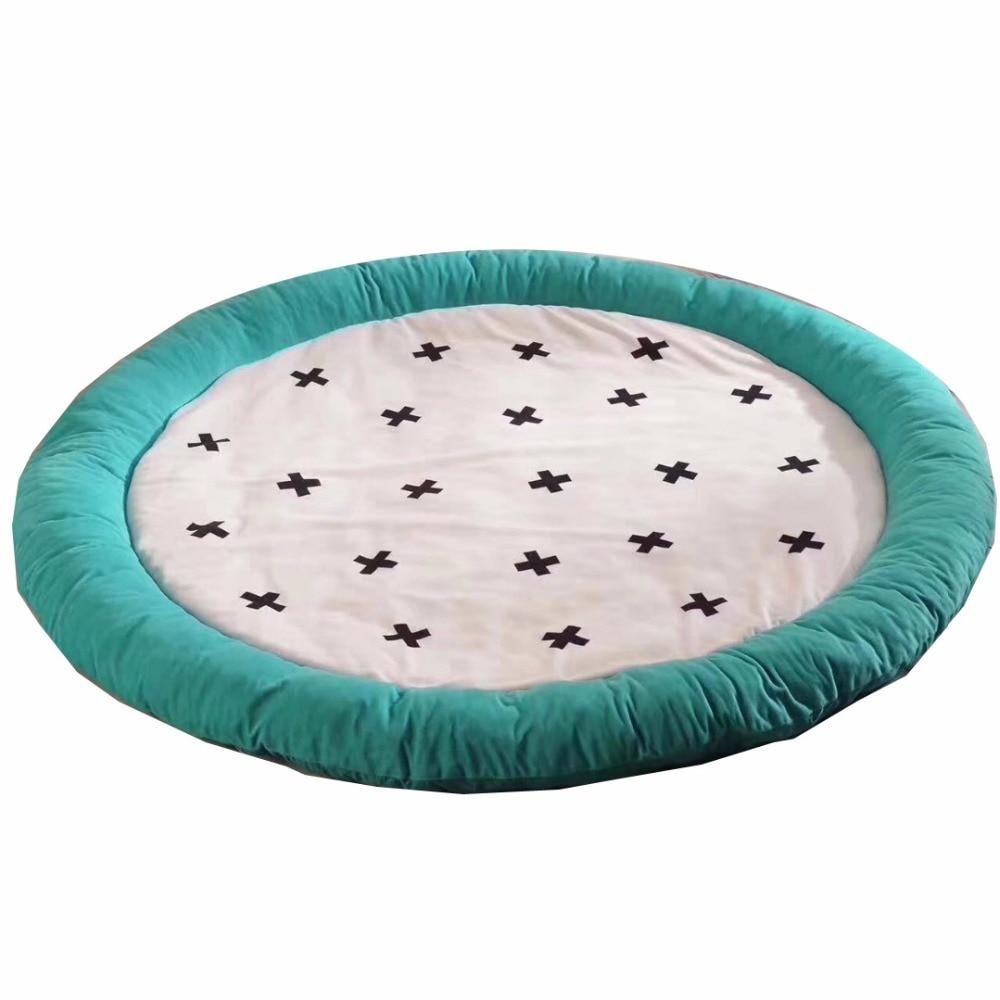 Épais nouveau-né bébé rembourré tapis de jeu doux coton tapis ramper filles garçons tapis de jeu tapis de sol rond pour enfants décor de chambre intérieure - 2