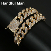 Hadiyana New Gold Chain Design Bracelet High Quality Cubic Zircon Jewelry Chain For Men Prom Party Hip Hop Jewelry SL1193