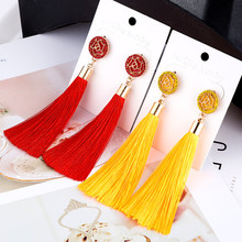 HOCOLE 2018 New Fashion Tassel Earrings Boho Bohemian Long Exaggerated Rose Flower Drop for Women Jewelry Wholesale